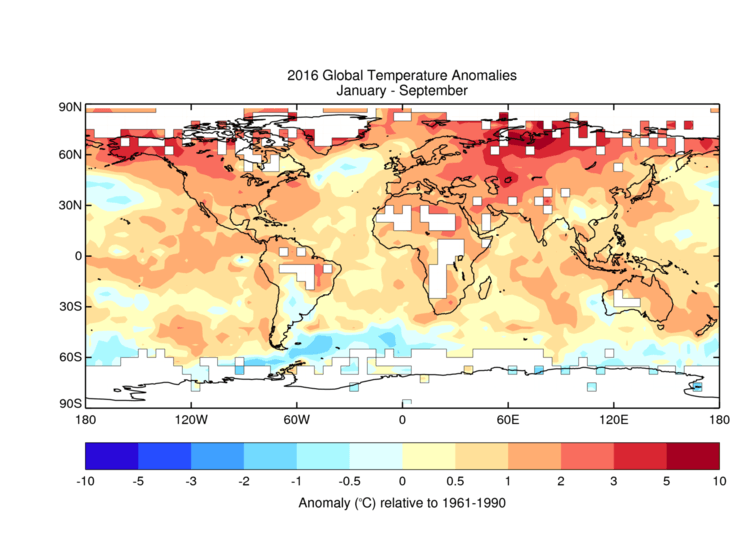 Global temperatures for January to September 2016. Image: UK Meteorological Office Hadley Centre