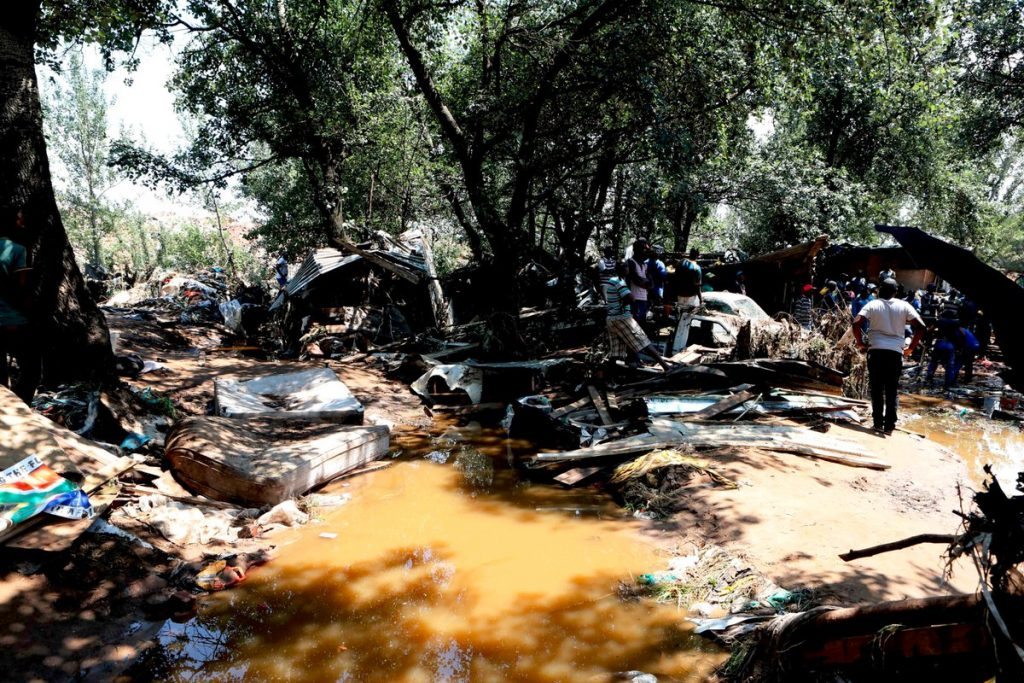 Damage caused by the overflowing Jukskei River in Stjwetla informal settlement in Alexandra, South Africa. Photo: Gauteng Provincial Government