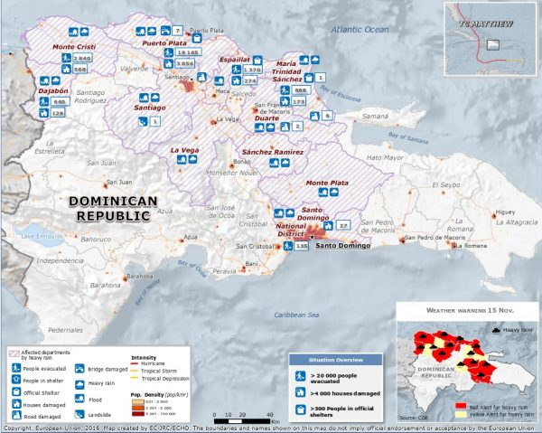Map of flood affected areas of Dominican Republic, 14 November 2016. Image: ECHO