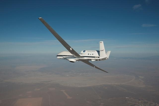 A NASA unmanned Global Hawk plane used to gather atmospheric data from hurricanes that formed in the Atlantic Ocean in 2016. To better predict hurricane intensity, scientists sponsored by the Office of Naval Research are studying this data to design more accurate weather-forecasting systems. Credit: NASA