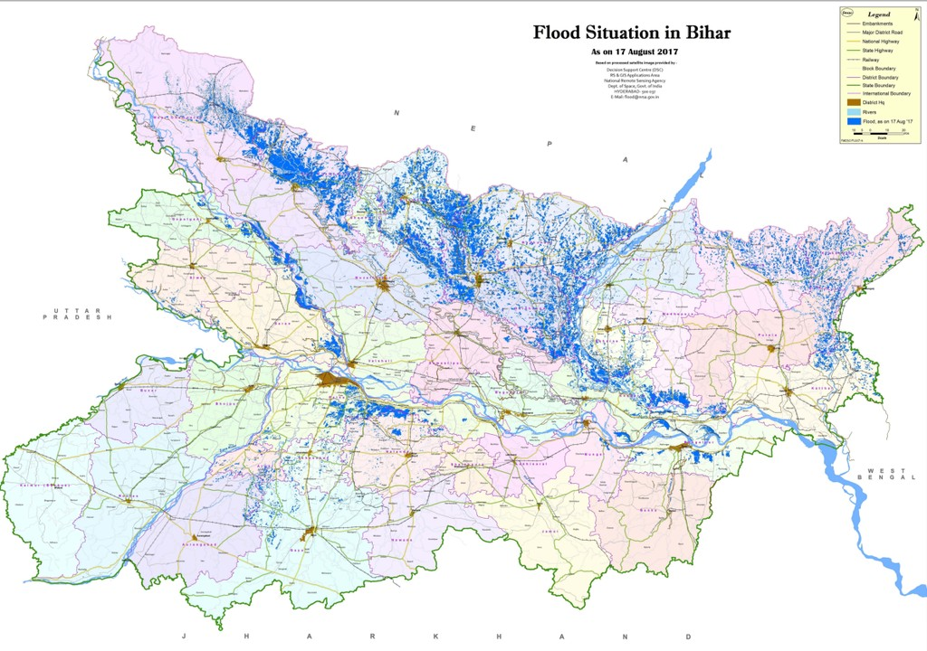 below is a map showing the flooded areas in darker blue in bihar as of 17 august 2017 the map is provided by the flood monitoring cell of the water