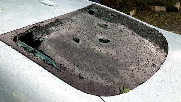 Car Damage after Hailstorm. Photo: twitter.com/CornelvHeerden