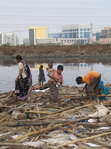 2006 Mithi river in Mumbai. with the Bandra Kurla complex opposite. Photo:  Joe Athialy