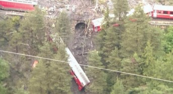 Floods and Landslide Derail Train in Switzerland