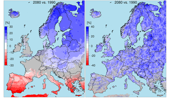 Change in average annual precipitation in 22 European regions containing large rivers by 2080. Change in annualmaximum daily precipitation (right). All figures are relative to the average for the baseline period of 1976 to 2005 (midpoint1990). Source: Alfieri et al., (  2015)