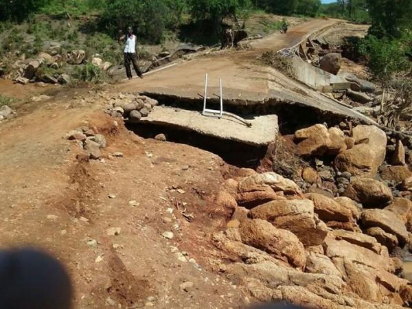 Flood damage in Tharaka North sub County. Photo: KRCS