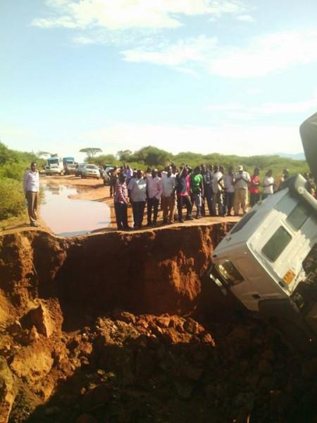 Kitale-Turkana road rendered impassable by flood damage. Photo: KRCS