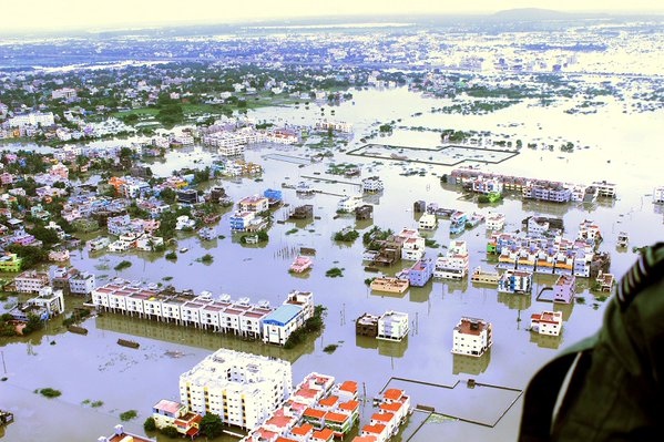 Aerial view of flood affected areas of Kanchipuram District in Tamil Nadu, where the Indian Air Force has carried out rescue and relief operations. Photo: Indian Ministry of Defence