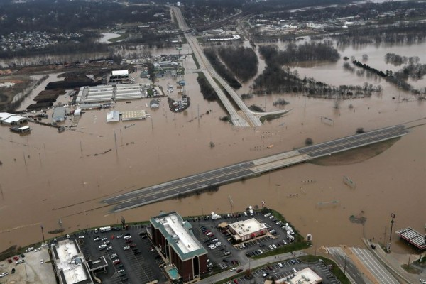 An aerial view from a Missouri National Guard UH-60 Black Hawk helicopter shows the effects of flooding in Pacific, Mo., Dec. 30, 2015. Missouri National Guard photo