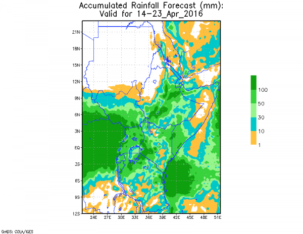 Cumultive rainfall forecast for between 14 to 23 April 2016 . Image: ICPAC