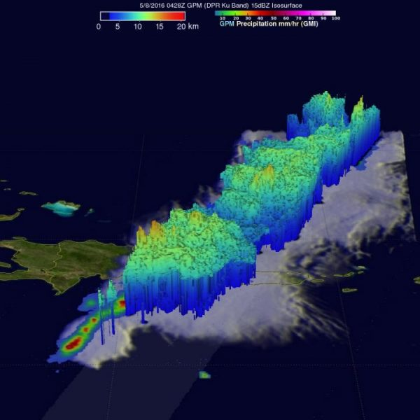 GPM's Radar (DPR Ku Band) were used to measure the 3-D structure of precipitation in this area. Some tall thunderstorms north of Puerto Rico were measured by DPR reaching heights of over 16 km (9.9 miles). Credits: NASA/JAXA/SSAI, Hal Pierce