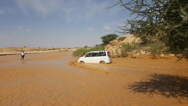 Key highway flooded in Somalia after 75mm of rain in May 2016. Photo copyright: Maryama Dayib