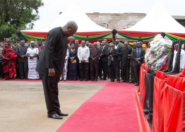 Memorial service for victims of the Ghana fire and floods disaster of June 2015. Photo: Office of the President of Ghana