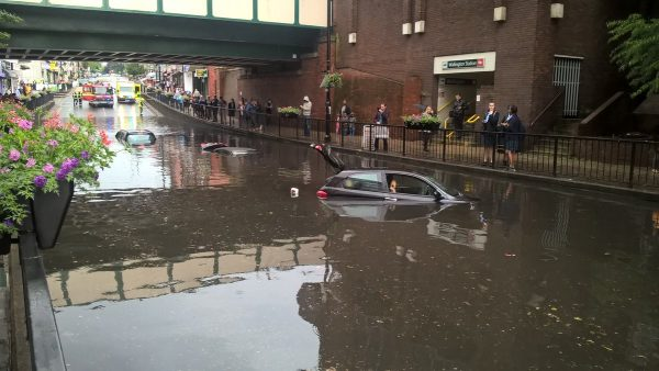 Vehicle trapped in flood water in Wallington, 07 June 2016. Photo: London Fire Brigade