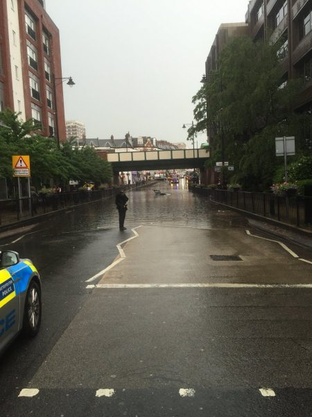 Scene of the flash floods in Wallington. Photo: Sutton Metropolitan Police.