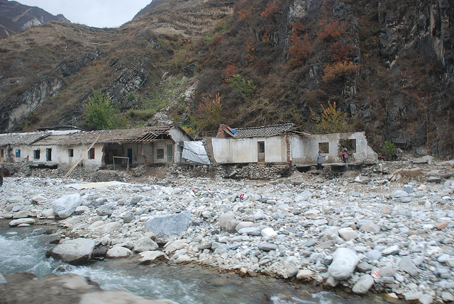 The country suffered severe flooding in 2012. In the mountainous region of South Hamgyong province numerous villages were affected by flash floods in July 2012 which destroyed hundreds of homes. Photo Credit: Devrig Velly EU/ECHO November 2012