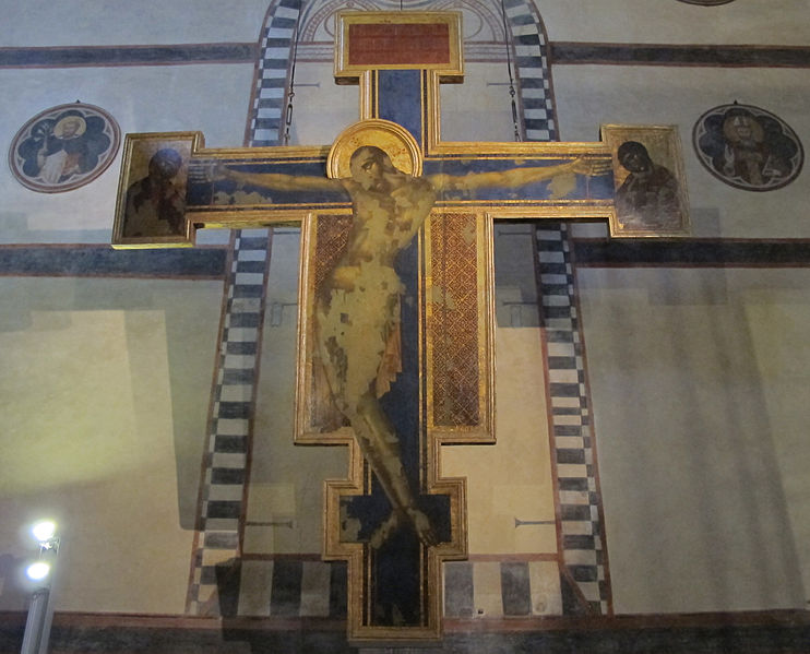Crucifix, Cimabue, Santa Croce, 1287–1288. The work was been in the Basilica di Santa Croce, Florence since the late thirteenth century, and at the Museo dell'Opera Santa Croce since restoration following flooding of the Arno in 1966. It remains in poor condition despite conservation efforts. Photo: Sailko under CC BY-SA 3.0