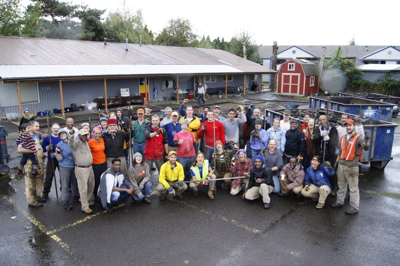 """During - St Mary Church. A team of Depave volunteers """"at the ready"""" Photo: Depave"""