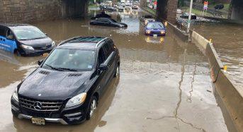 USA – Rain From Storm Elsa Floods New York Subway